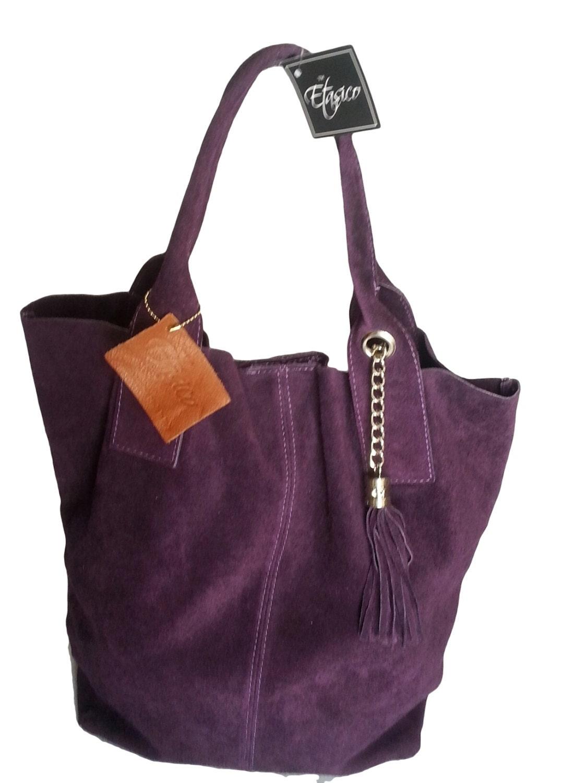 italian leather suede handbags etasico adriana purple fringe