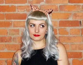 Rockabilly Hair Accessories Head Wrap Tan Navy Blue Star Headband Dolly Bow Pin Up