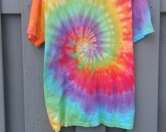 Organic Cotton Tee, The 90s Tie Dye Spiral, old fashioned, grunge, tumblr