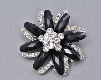 Black Rhinestone Brooch Bridal Wedding Brooch Black Wedding Accessories Black Brooch. C207.