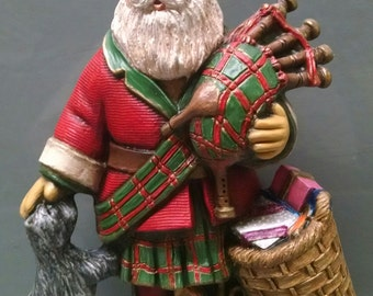 SALE!Scottish Santa -- Heirloom-quality handpainted ceramic Santa -- Christmas mantel decor