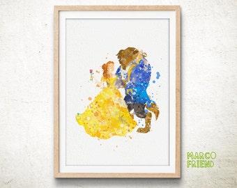 Disney Princess, Belle, Beauty and the Beast, Disney, Watercolor Art Print Poster, Watercolor Painting, Watercolor Art, Nursery Decor - 44