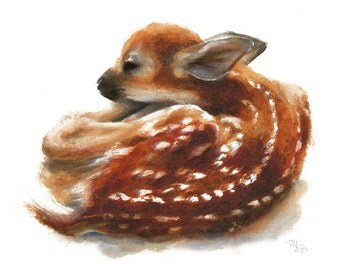 Deer Fawn watercolor painting - Archival print  Nature or Animal Illustration. Redt and Orange.
