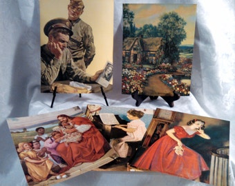 Vintage Set of 19 WWII Photo Prints for Granada Art Calendar by National Press Co. Chicago, Salesman's Promotional Packet, Circa 1940s, RARE
