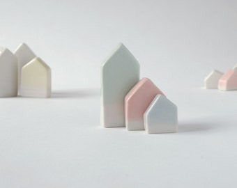 Ceramic Houses // Set of 3 Porcelain Houses // Miniatures // Ceramic Art & Home Décor