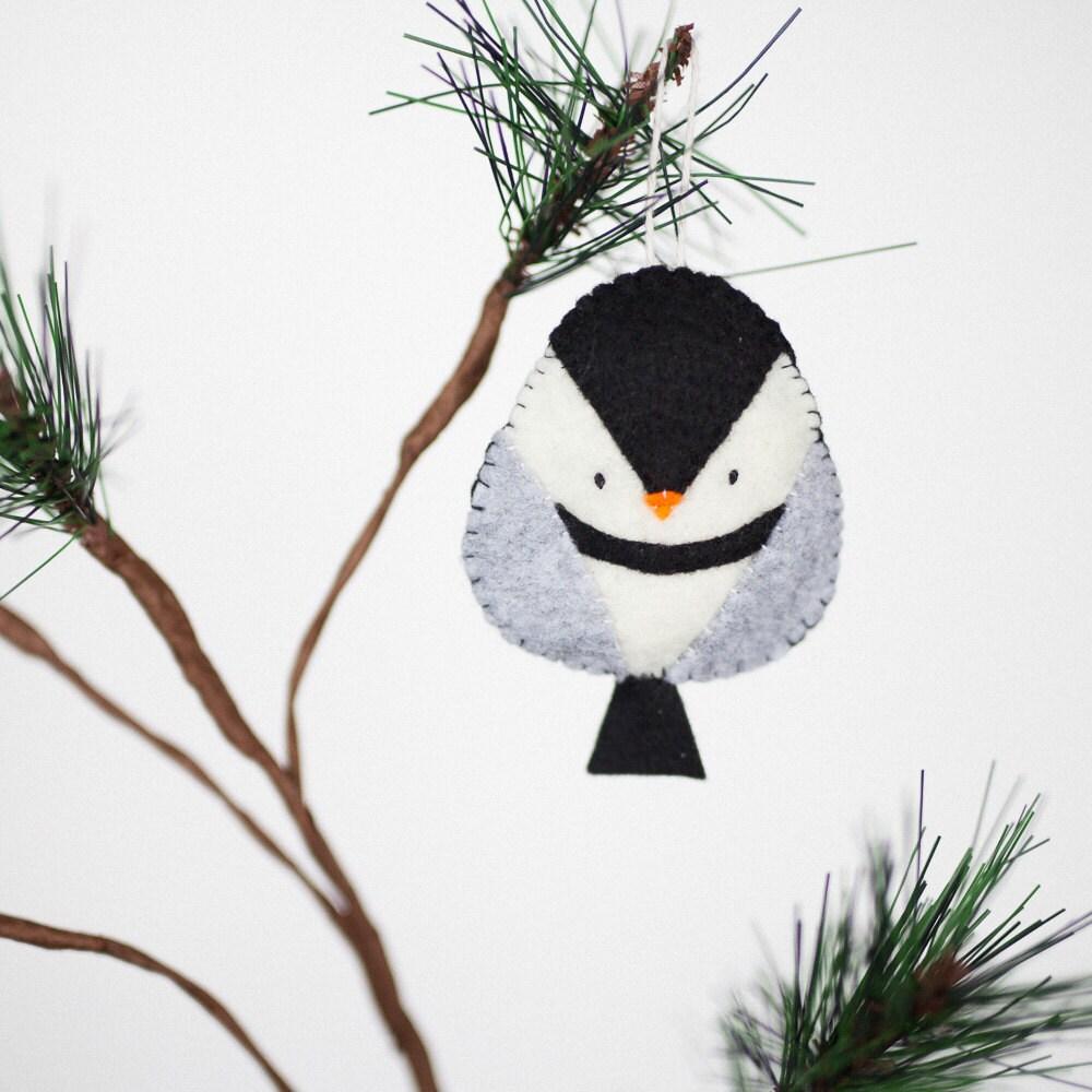 Handmade felt chickadee ornament decorative bird