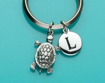 Turtle Keychain, Turtle Key Ring, Initial Keychain, Personalized Keychain, Custom Keychain, Charm Keychain, 369