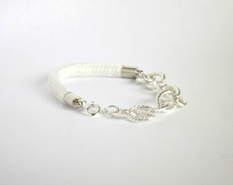 Cord and Silver Chain Bracelet