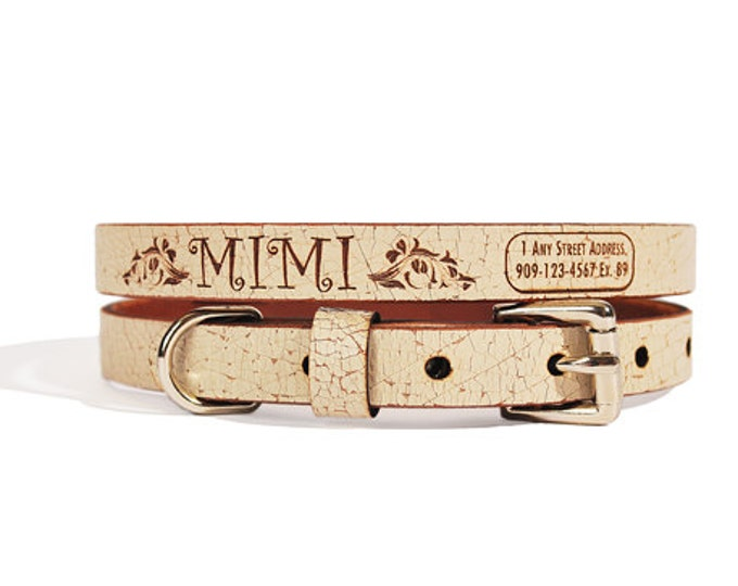 ID Dog Collar, Small Size, Princess Design, Name & Contact Info Engraved Leather