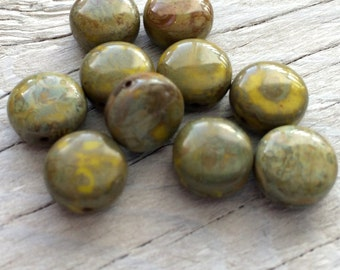 Glass beads - Czech glass coin beads bright green picasso 10mm pack of 10