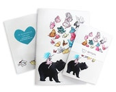 Moon Bear notebook  - note books A6 and A5 butterflies sketch book stocking stuffers stocking fillers