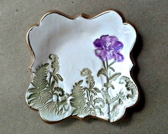 Small Ceramic Ring Dish with purple flower 3 inches wide OFF WHITE