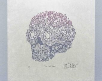 Crystal Skull - Woodcut Print, Woodblock Print by Tugboat Printshop