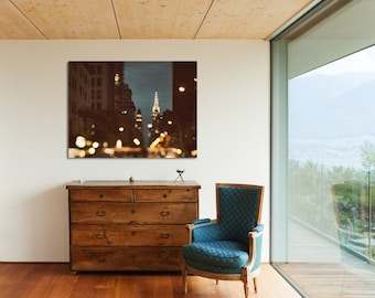 """Large Abstract Wall Decor, New York Canvas Art Print Up to 30x40"""", NYC Art, Canvas Print, Contemporary Home Decor """"Because the Night"""""""