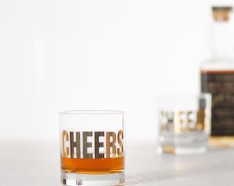 20k GOLD Cheers glass - hand printed rocks whiskey glasses, metallic mixology