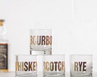 20k GOLD Mixology cocktail glass - screen printed rocks whiskey scotch bourbon rye glasses