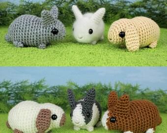 Pig Rabbit Amigurumi Patron : PDF Baby Bunnies three amigurumi bunny rabbit CROCHET