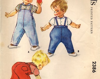 McCall's 2386 Toddlers JODHPURS OVERALLS & SHIRT Size 2 Vintage 1960s