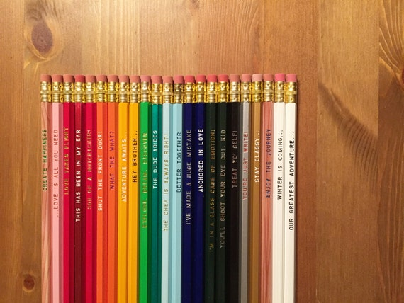 SAVE 15% Pick a Pencil 12 Pack, pencil gift set, funny pencils, tv show quotes, cool stocking gifts, boss gift, engraved pencil set, customi