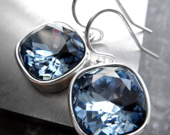 Blue Crystal Earrings, Swarovski Crystal, Sky Baby Blue Square Cushion Cut Crystals, Something Blue Wedding Bridal Bridesmaid Jewelry 4470
