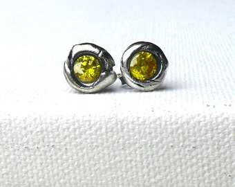 Canary Yellow in Organic Fine Silver Post Stud Earrings - Made to Order