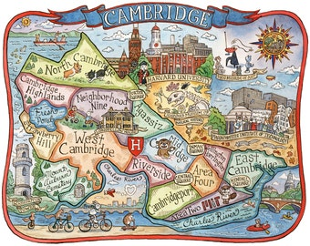 "Cambridge Massachusetts Neighborhood Map 11""x14"" Art Print"