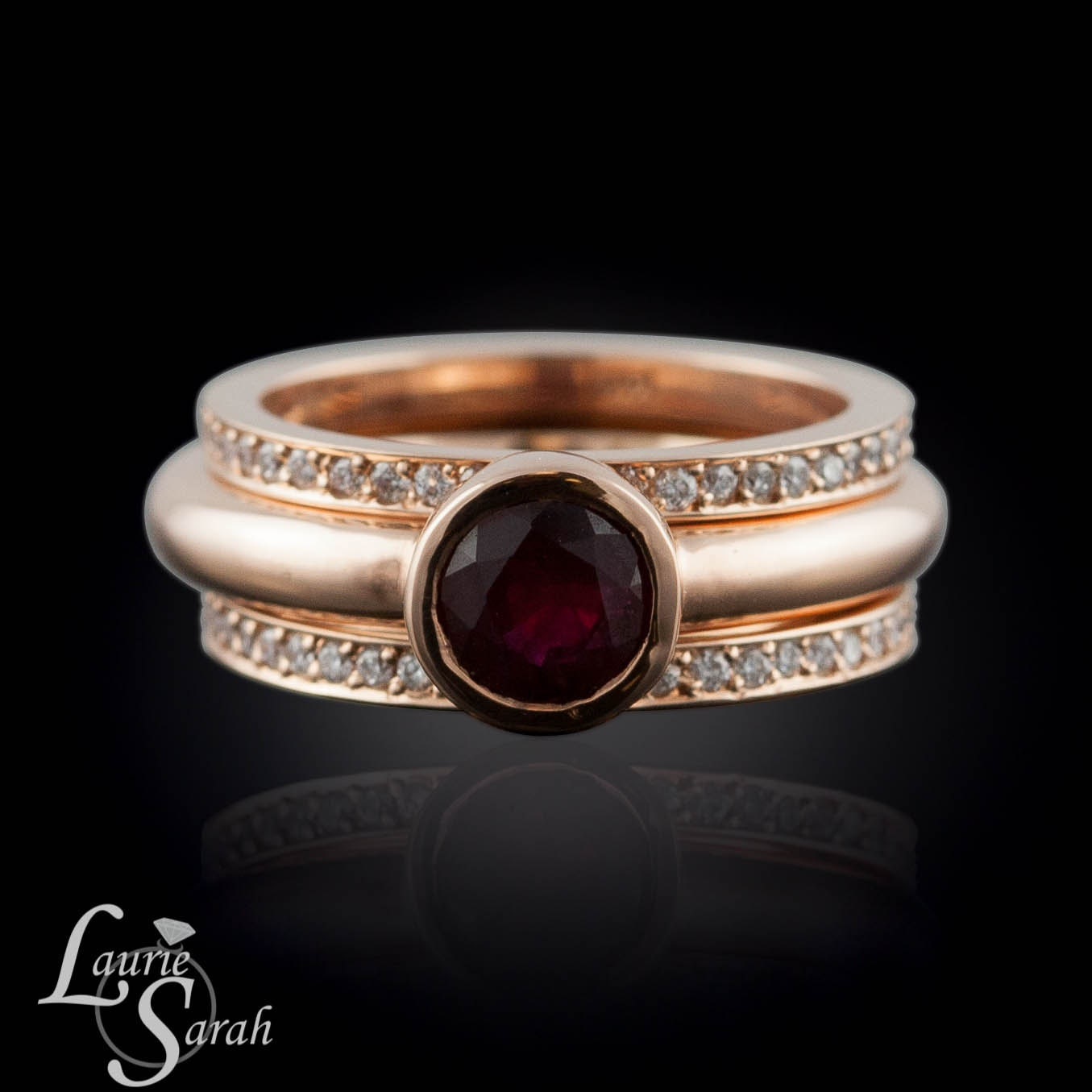 Ruby Engagement Ring Round Ruby Wedding Set With Two Pave