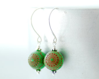 Christmas Earrings, Red and Green Earrings, Seasonal Jewelry, Textured Earrings, Acrylic Jewelry, Dangle Earrings