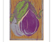 Eggplant Block Print Art Reproduction