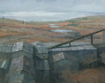 Geevor Tin Mine, Original Industrial Landscape Painting