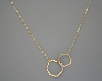 Simple two organic hoops gold filled necklace, Rachel Wilder Handmade Jewelry