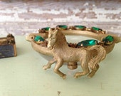 Vintage Wiesner Ashtray, Match Box, Trinket Bowl, Gold Horse Roses Emerald Rhinestones