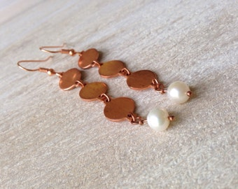 Handmade Jewelry Chime Freshwater Pearl Golden Dangle Earrings Long Copper Earrings Handcrafted USA Bohemian Rustic Earthy Jewelry Accessory