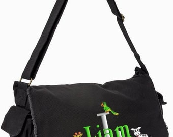 Boys Diaper Bag Personalized Black Brown Messenger Embroidered Raw Edge Large