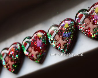 Ornament Necklace, Secret Santa, Santa Baby Christmas Novelty, Resin Glitter Heart Ornament or Necklace, Strange Holiday Fun Weird Jewelry