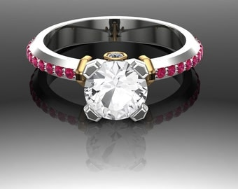 White Sapphire Engagement Ring with Ruby and Diamond Accents, Two Tone Gold