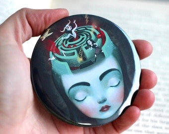 Sometimes in my Head - Pocket Mirror - unique art mirror, inner strength, portable art, collectable, greek myth, Meluseena