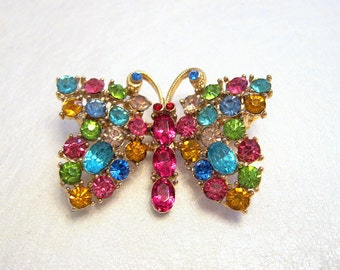 Vintage Butterfly Brooch Rhinestone Multi Color Goldtone