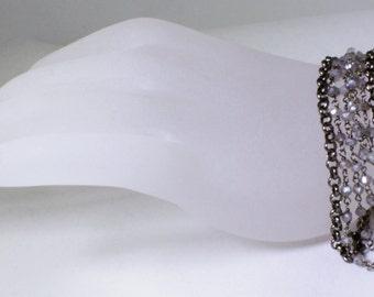 Labradorite Bracelet Gunmetal Chain Bracelet 5-Strand Bracelet Rare Stone Bracelet GEM-B-130-Lab/gm