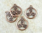 Celtic Triskele Charms - Celtic Spiral Charms - TierraCast Antique Copper Charms - Knotwork Yoga Charms (P2014)