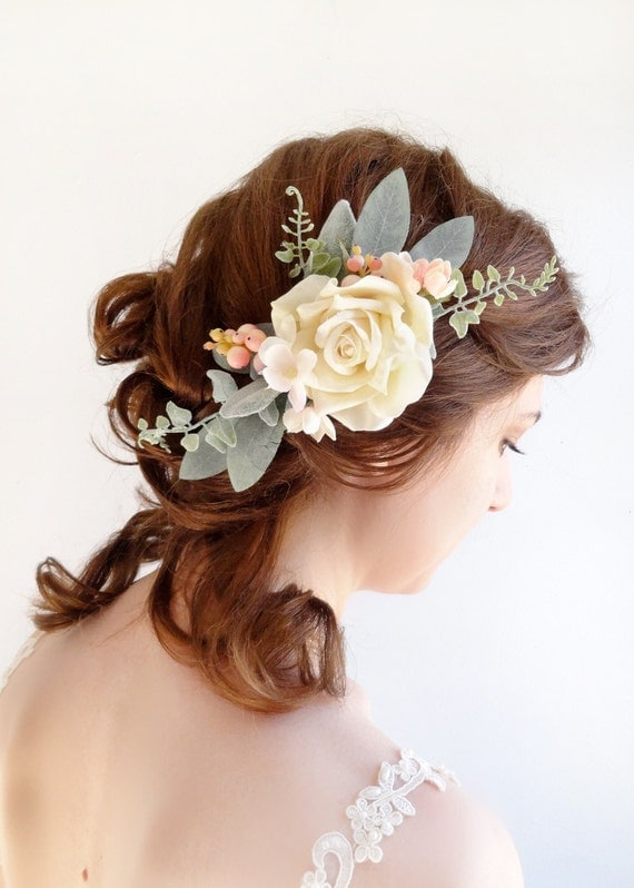 Real Flower Bridal Hair Accessories : Wedding hair piece bridal headpiece ivory by thehoneycomb