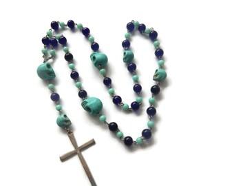 Azul – Blue Necklace - Mexican Sugar Skull Rosary Beads - Dios De Los Muertos/Virgin of Guadalupe - Turqoiuse/Navy/Silver – Mishimon Designs
