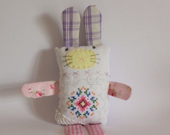Bunny softie vintage embroideries purple chk ears