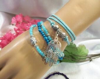 Hamsa Hand 1 Ancient Tibetan Style Suede Bracelet  Necklace Stackable