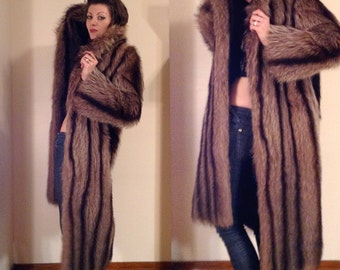 SALE 1980's Full Length Fur Coat // Striped Fur