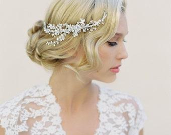 Bridal Hair Comb, Swarovski Crystals, Floral Hair Piece, Hair Vine, Woodland Wedding, Bridal Accessories, Crystal Halo, Crystal Wreath, 1504
