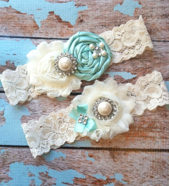 Lace Wedding Garters: Wedding Garter / AQUA BLUE Garter SET / Wedding Garters
