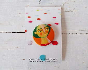 Pin girl, orange & green portrait brooch