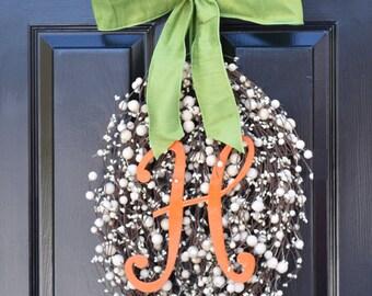 Monogram Easter Egg Wreath, Easter Decoration, Easter Decor Wreath Easter Monogram Wreath- Spring Wreath