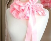 Ruffle Neck Warmer - Crochet Fashion Collar with Bow Ties
